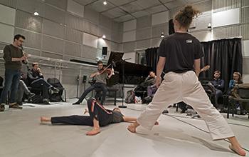 Répétition du concert dans les studios de l'Ircam © Thierry De Mey